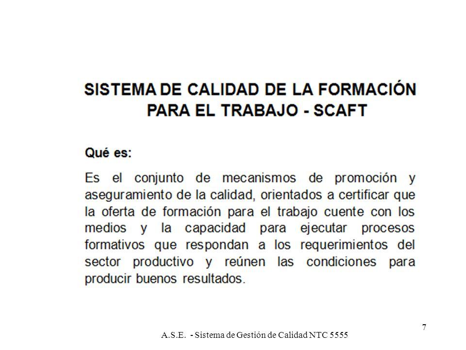 A.S.E. Sistema de Gestión de Calidad NTC 55556 SISTEMA DE GESTIÓN DE CALIDAD SERIE DE NORMAS INTERNACIONALES PARA LA GESTIÓN DE LA CALIDAD ISO 9001: 2