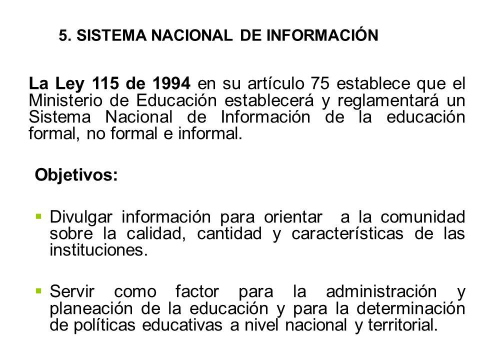 La Ley 115 de 1994 en su artículo 75 establece que el Ministerio de Educación establecerá y reglamentará un Sistema Nacional de Información de la educación formal, no formal e informal.