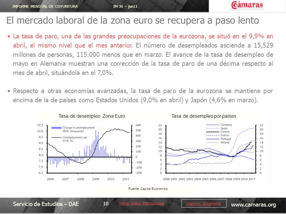 INFORME MENSUAL DE COYUNTURA IM 30 – jun11 Servicio de Estudios – DAE www.camaras.org 10 Imprimir documento El mercado laboral de la zona euro se recu