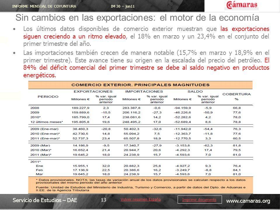 INFORME MENSUAL DE COYUNTURA IM 30 – jun11 Servicio de Estudios – DAE www.camaras.org 13 Imprimir documento Sin cambios en las exportaciones: el motor