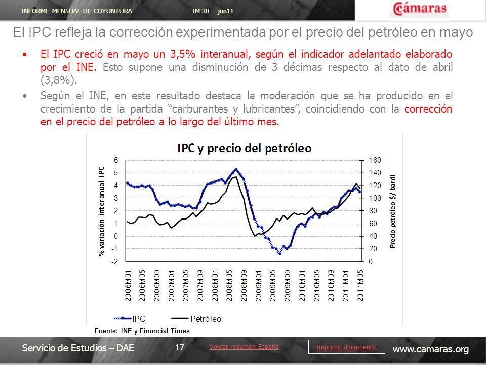 INFORME MENSUAL DE COYUNTURA IM 30 – jun11 Servicio de Estudios – DAE www.camaras.org 17 Imprimir documento El IPC creció en mayo un 3,5% interanual,
