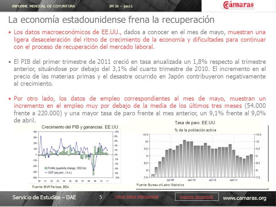 INFORME MENSUAL DE COYUNTURA IM 30 – jun11 Servicio de Estudios – DAE www.camaras.org 5 Imprimir documento La economía estadounidense frena la recuper
