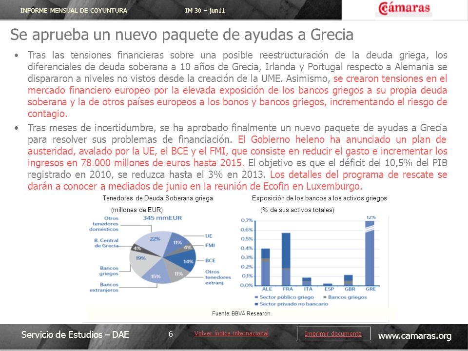 INFORME MENSUAL DE COYUNTURA IM 30 – jun11 Servicio de Estudios – DAE www.camaras.org 6 Imprimir documento Se aprueba un nuevo paquete de ayudas a Gre