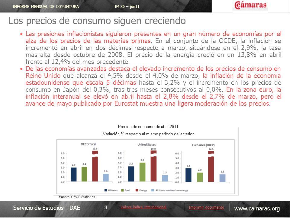 INFORME MENSUAL DE COYUNTURA IM 30 – jun11 Servicio de Estudios – DAE www.camaras.org 8 Imprimir documento Los precios de consumo siguen creciendo Vol