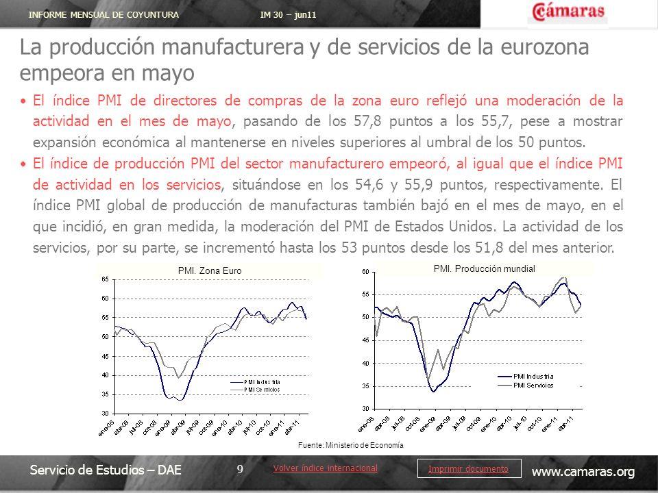 INFORME MENSUAL DE COYUNTURA IM 30 – jun11 Servicio de Estudios – DAE www.camaras.org 9 Imprimir documento La producción manufacturera y de servicios