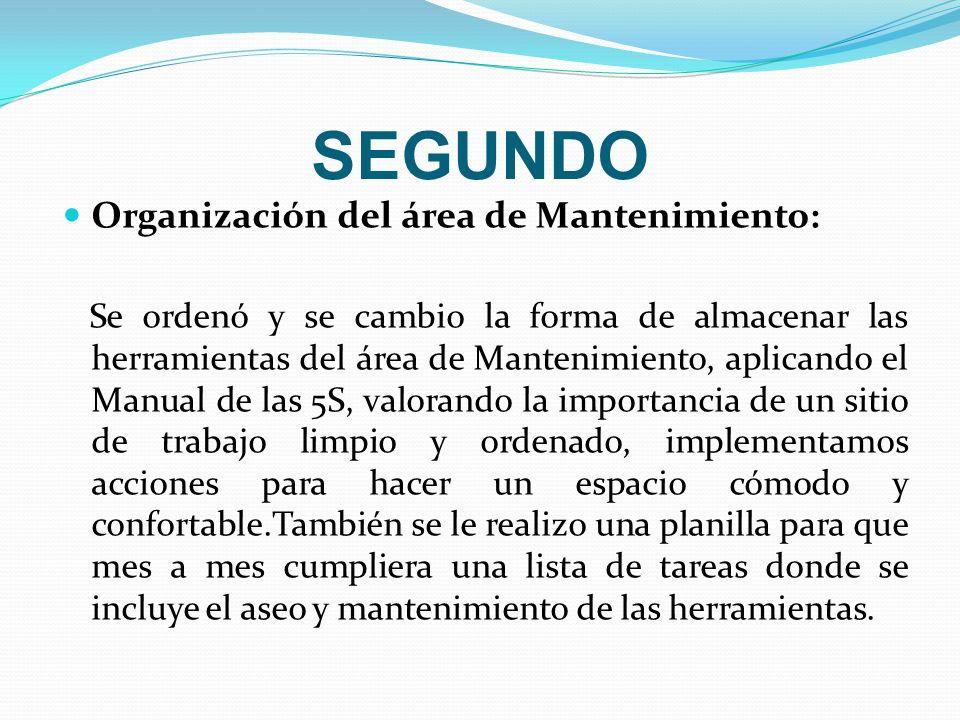 SEGUNDO Organización del área de Mantenimiento: Se ordenó y se cambio la forma de almacenar las herramientas del área de Mantenimiento, aplicando el M