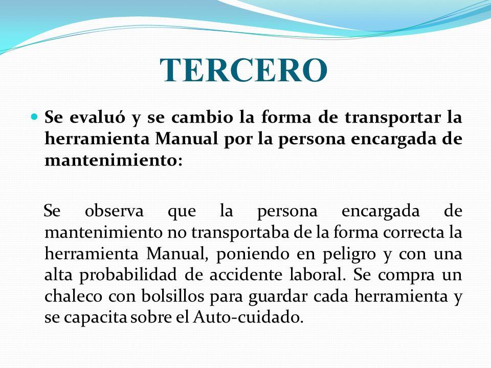 TERCERO Se evaluó y se cambio la forma de transportar la herramienta Manual por la persona encargada de mantenimiento: Se observa que la persona encar