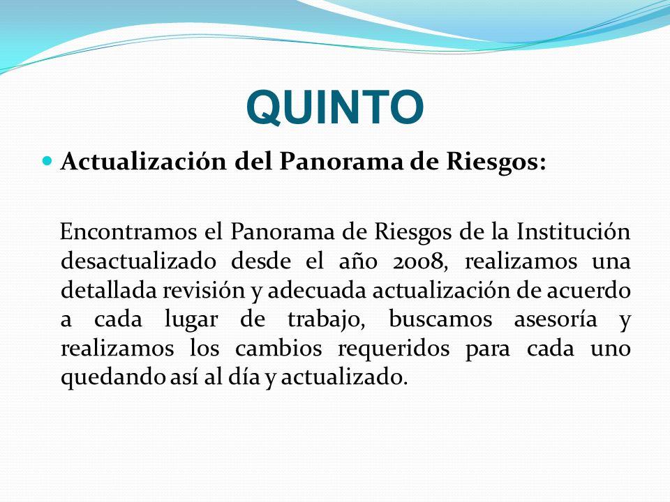 QUINTO Actualización del Panorama de Riesgos: Encontramos el Panorama de Riesgos de la Institución desactualizado desde el año 2008, realizamos una de