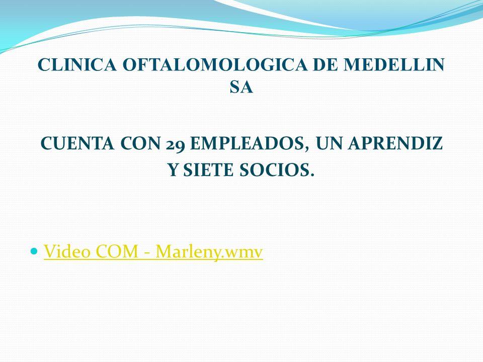 CLINICA OFTALOMOLOGICA DE MEDELLIN SA CUENTA CON 29 EMPLEADOS, UN APRENDIZ Y SIETE SOCIOS. Video COM - Marleny.wmv
