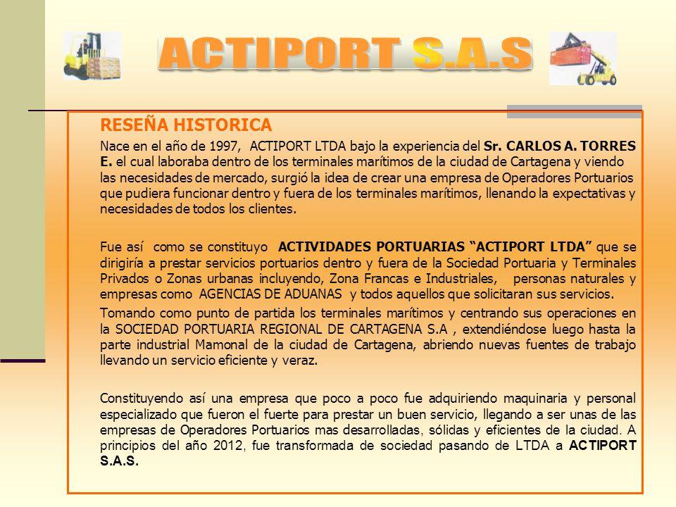 ACTIVIDADES PORTUARIAS S.A.S, ACTIPORT S.A.S. Aparece Matriculada en el Registro Mercantil, bajo el Numero 127.569. Certifica con NIT 806004082-6 con
