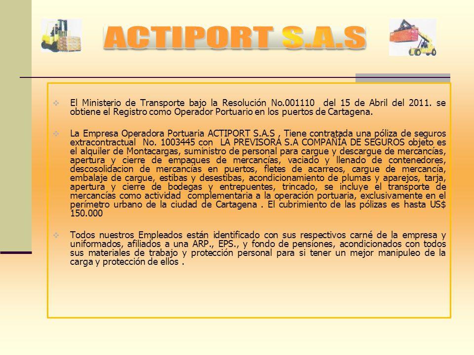 RESEÑA HISTORICA Nace en el año de 1997, ACTIPORT LTDA bajo la experiencia del Sr. CARLOS A. TORRES E. el cual laboraba dentro de los terminales marít