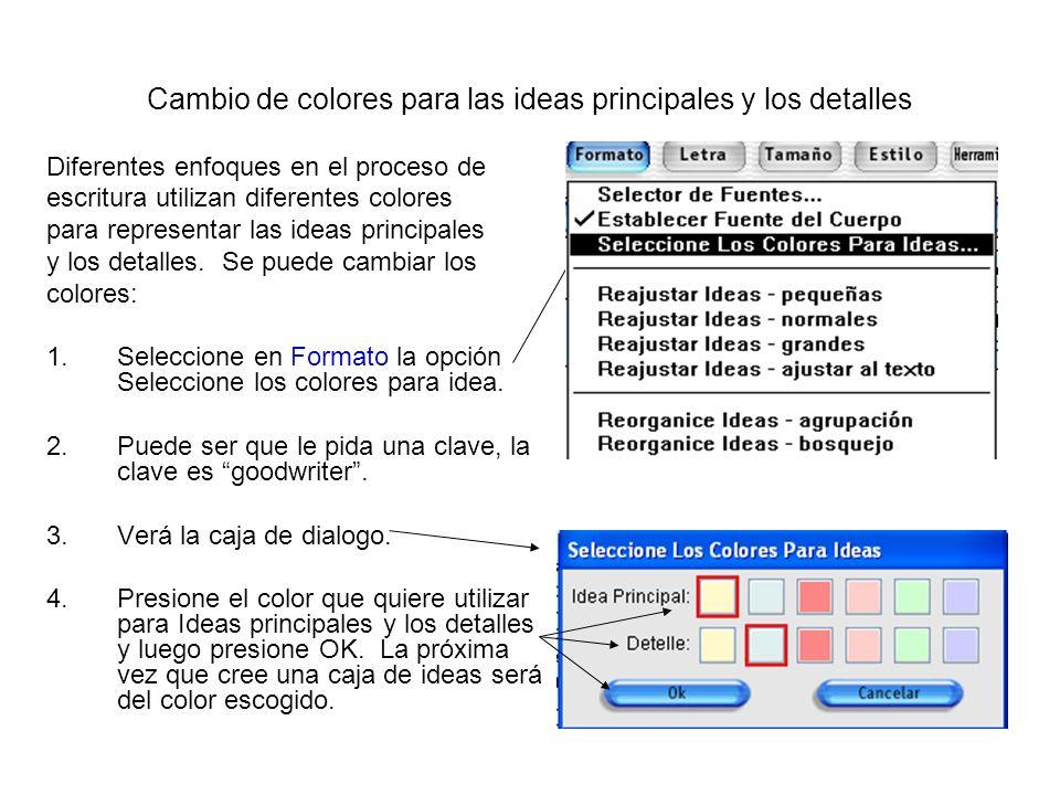 Cambio de colores para las ideas principales y los detalles Diferentes enfoques en el proceso de escritura utilizan diferentes colores para representa