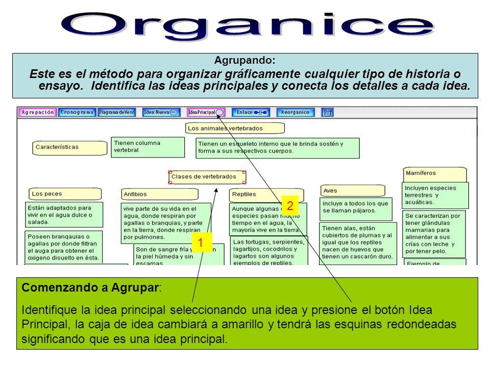 Agrupando: Este es el método para organizar gráficamente cualquier tipo de historia o ensayo. Identifica las ideas principales y conecta los detalles