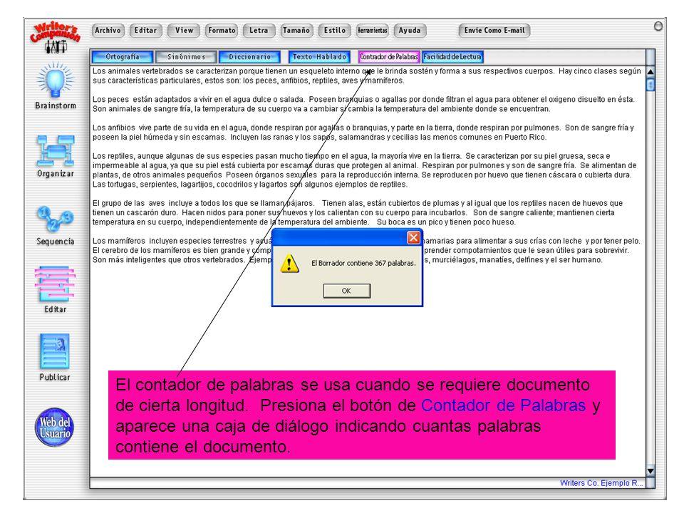 El contador de palabras se usa cuando se requiere documento de cierta longitud. Presiona el botón de Contador de Palabras y aparece una caja de diálog