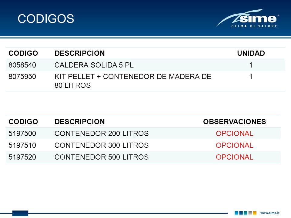 CODIGOS CODIGODESCRIPCIONUNIDAD 8058540CALDERA SOLIDA 5 PL1 8075950KIT PELLET + CONTENEDOR DE MADERA DE 80 LITROS 1 CODIGODESCRIPCIONOBSERVACIONES 519