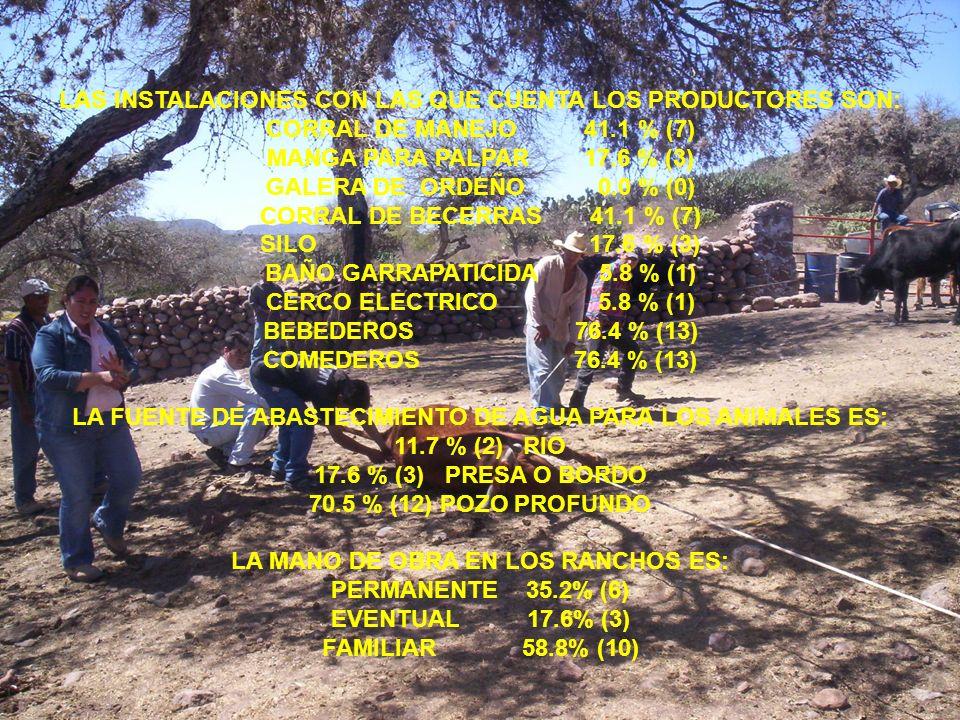 LAS INSTALACIONES CON LAS QUE CUENTA LOS PRODUCTORES SON: CORRAL DE MANEJO 41.1 % (7) MANGA PARA PALPAR 17.6 % (3) GALERA DE ORDEÑO 0.0 % (0) CORRAL D