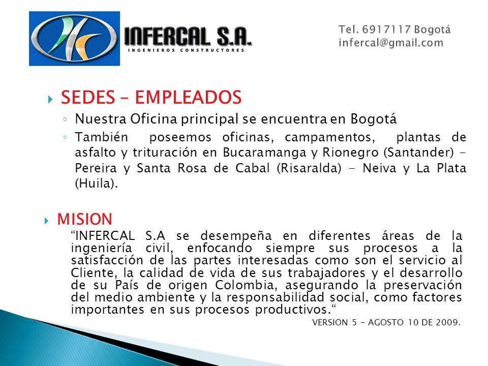SEDES – EMPLEADOS Nuestra Oficina principal se encuentra en Bogotá También poseemos oficinas, campamentos, plantas de asfalto y trituración en Bucaram