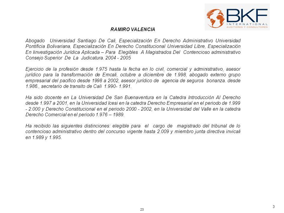RAMIRO VALENCIA Abogado Universidad Santiago De Cali, Especialización En Derecho Administrativo Universidad Pontificia Bolivariana, Especialización En
