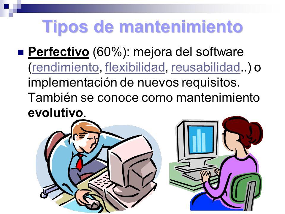 Tipos de mantenimiento Perfectivo (60%): mejora del software (rendimiento, flexibilidad, reusabilidad..) o implementación de nuevos requisitos. Tambié