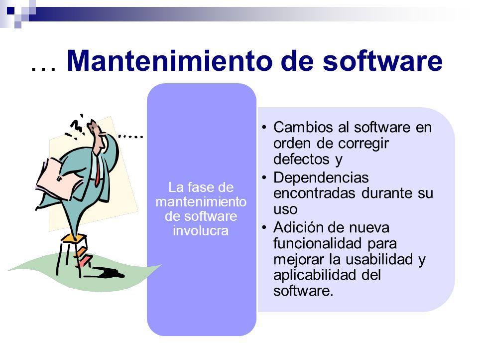 … Mantenimiento de software Cambios al software en orden de corregir defectos y Dependencias encontradas durante su uso Adición de nueva funcionalidad