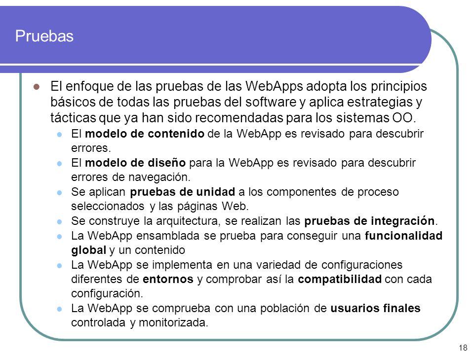 18 Pruebas El enfoque de las pruebas de las WebApps adopta los principios básicos de todas las pruebas del software y aplica estrategias y tácticas qu