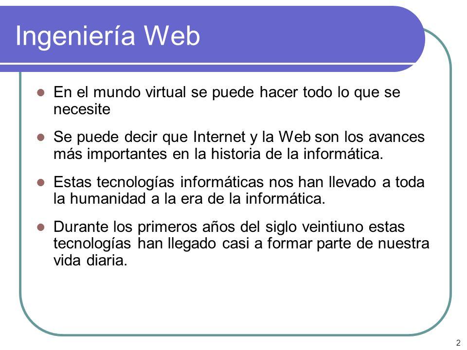2 Ingeniería Web En el mundo virtual se puede hacer todo lo que se necesite Se puede decir que Internet y la Web son los avances más importantes en la