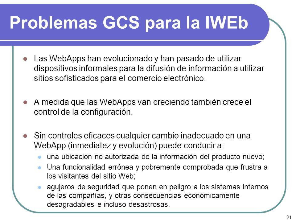 21 Problemas GCS para la IWEb Las WebApps han evolucionado y han pasado de utilizar dispositivos informales para la difusión de información a utilizar
