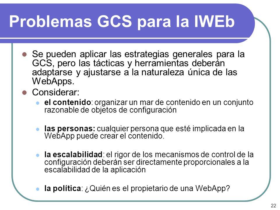 22 Problemas GCS para la IWEb Se pueden aplicar las estrategias generales para la GCS, pero las tácticas y herramientas deberán adaptarse y ajustarse