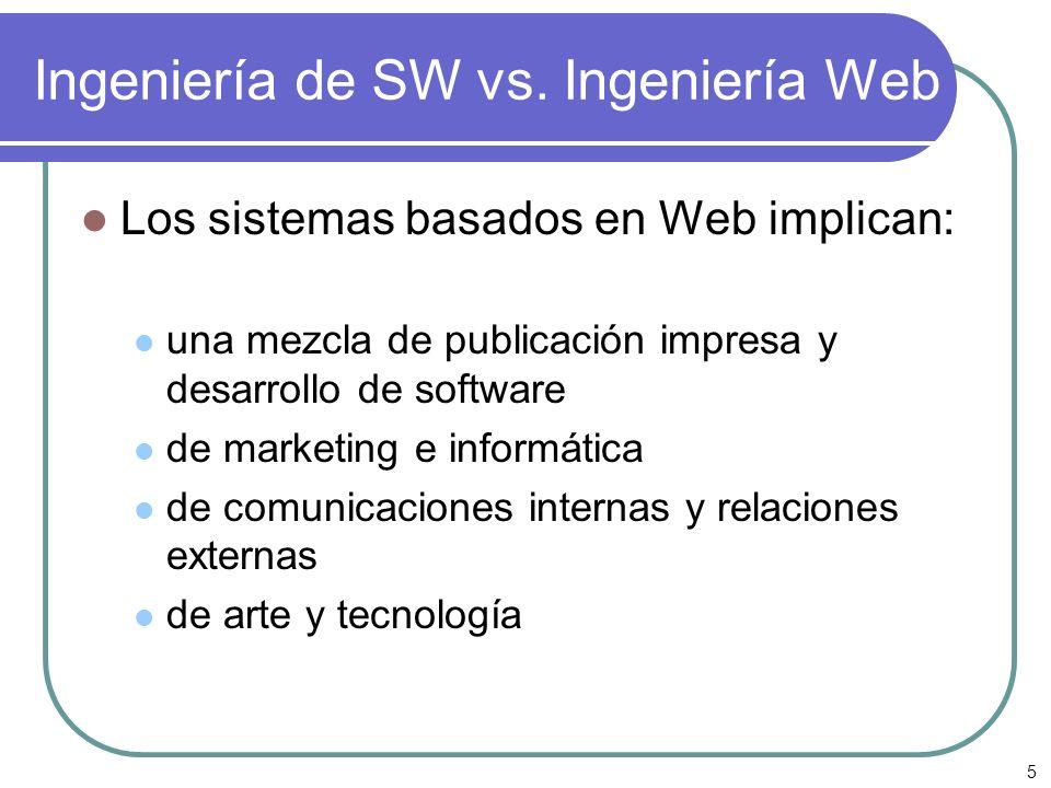 5 Ingeniería de SW vs. Ingeniería Web Los sistemas basados en Web implican: una mezcla de publicación impresa y desarrollo de software de marketing e