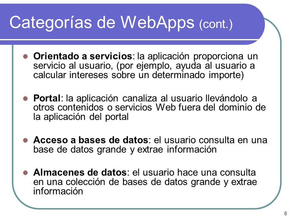 8 Categorías de WebApps (cont.) Orientado a servicios: la aplicación proporciona un servicio al usuario, (por ejemplo, ayuda al usuario a calcular int