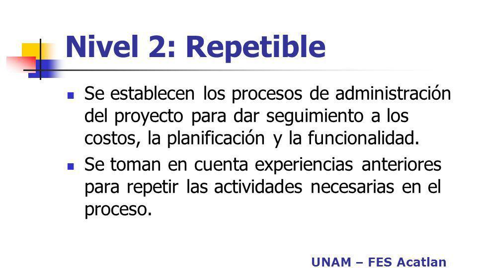 UNAM – FES Acatlan Nivel 2: Repetible Se establecen los procesos de administración del proyecto para dar seguimiento a los costos, la planificación y