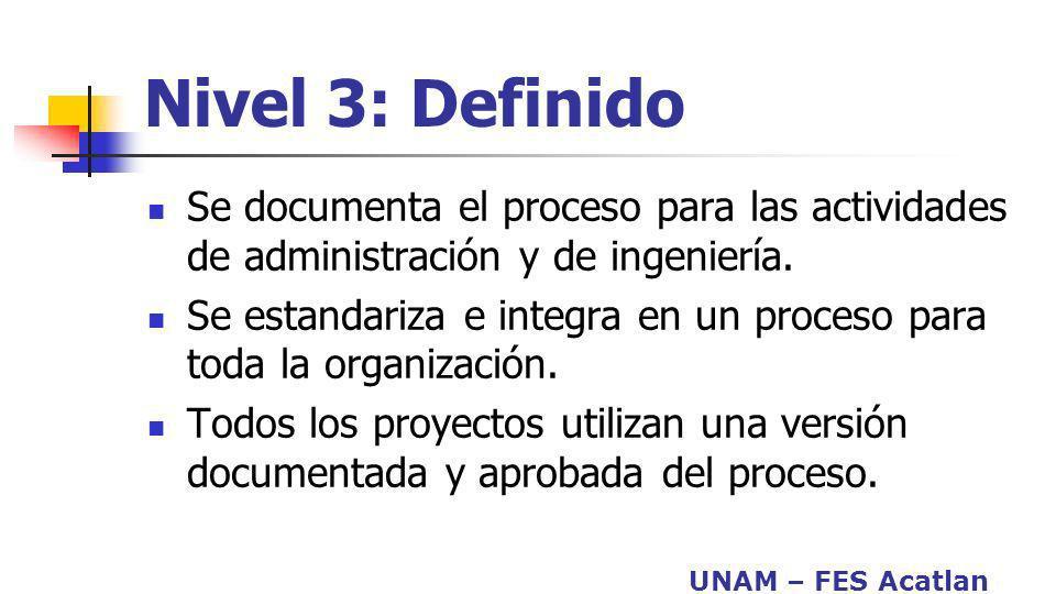 UNAM – FES Acatlan Nivel 3: Definido Se documenta el proceso para las actividades de administración y de ingeniería. Se estandariza e integra en un pr