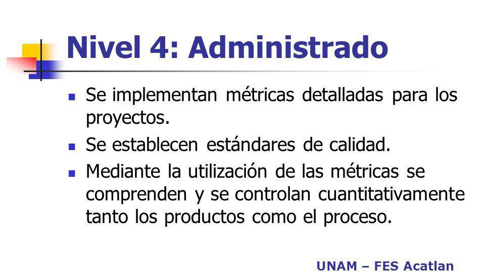 UNAM – FES Acatlan Nivel 4: Administrado Se implementan métricas detalladas para los proyectos. Se establecen estándares de calidad. Mediante la utili