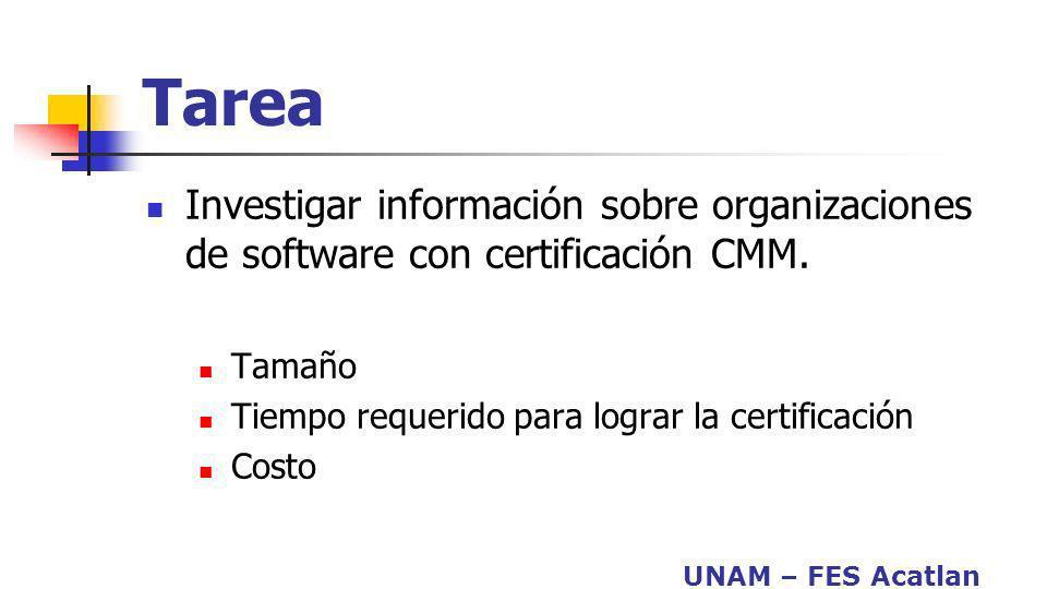 UNAM – FES Acatlan Tarea Investigar información sobre organizaciones de software con certificación CMM. Tamaño Tiempo requerido para lograr la certifi