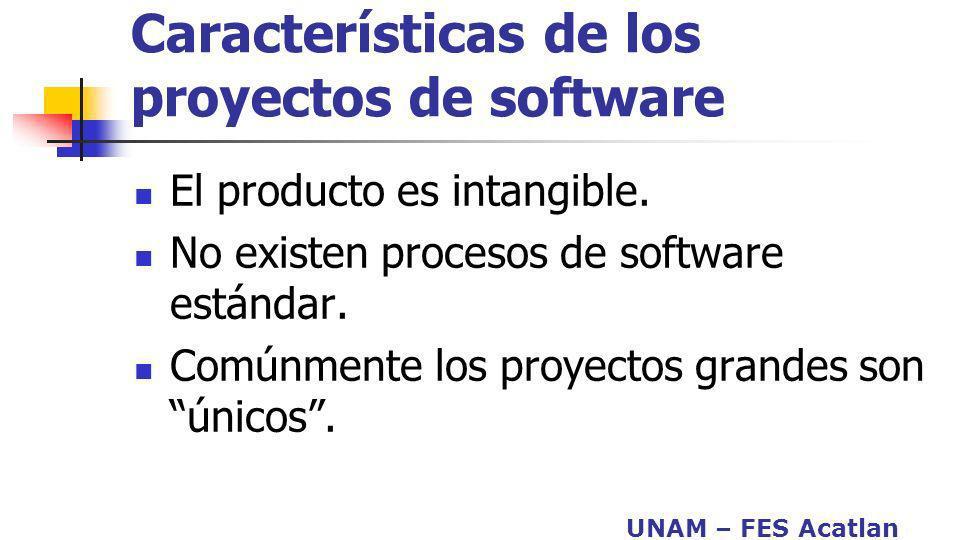 UNAM – FES Acatlan Características de los proyectos de software El producto es intangible. No existen procesos de software estándar. Comúnmente los pr