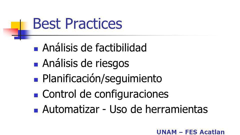 UNAM – FES Acatlan Nivel 5: Optimización El proceso se mejora continuamente mediante la retroalimentación cuantitativa del proceso,ideas y tecnologías innovadoras.