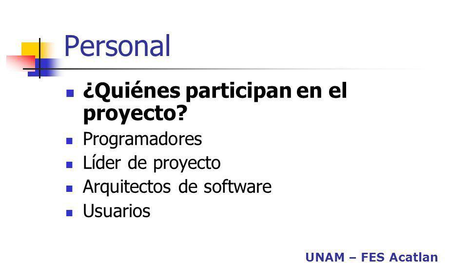 UNAM – FES Acatlan Personal ¿Quiénes participan en el proyecto? Programadores Líder de proyecto Arquitectos de software Usuarios