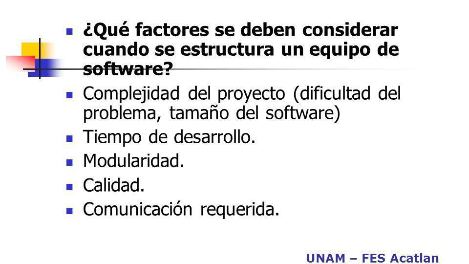 UNAM – FES Acatlan ¿Qué factores se deben considerar cuando se estructura un equipo de software? Complejidad del proyecto (dificultad del problema, ta