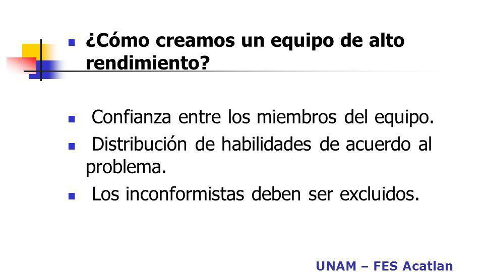 UNAM – FES Acatlan ¿Cómo creamos un equipo de alto rendimiento? Confianza entre los miembros del equipo. Distribución de habilidades de acuerdo al pro