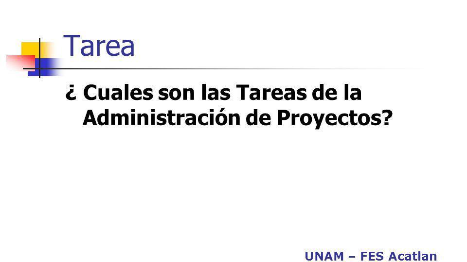 UNAM – FES Acatlan Tarea ¿ Cuales son las Tareas de la Administración de Proyectos?