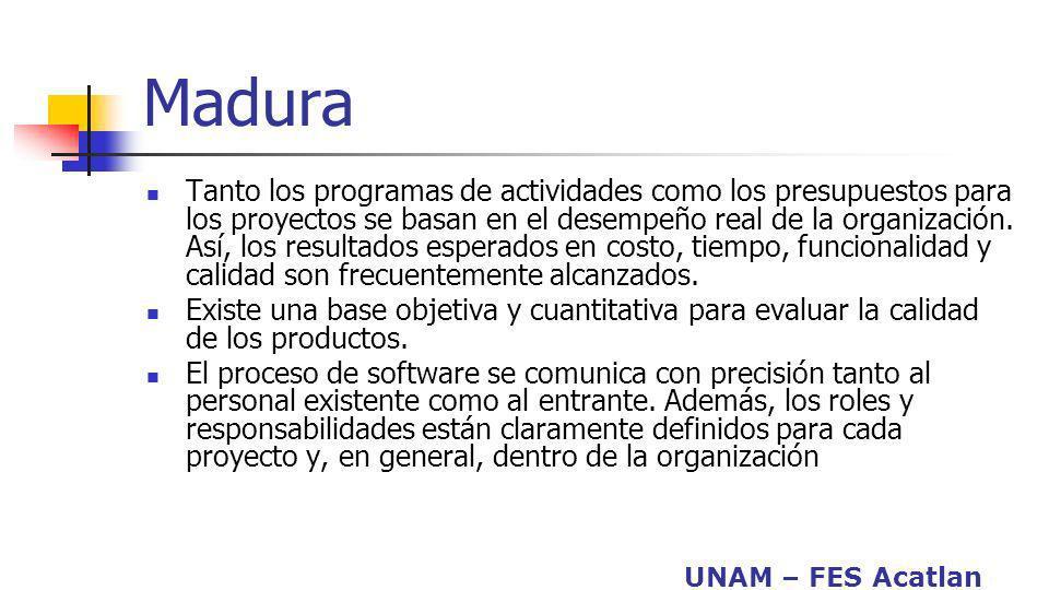 UNAM – FES Acatlan Madura Tanto los programas de actividades como los presupuestos para los proyectos se basan en el desempeño real de la organización