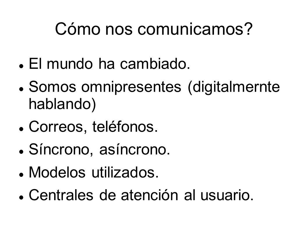Cómo nos comunicamos? El mundo ha cambiado. Somos omnipresentes (digitalmernte hablando) Correos, teléfonos. Síncrono, asíncrono. Modelos utilizados.