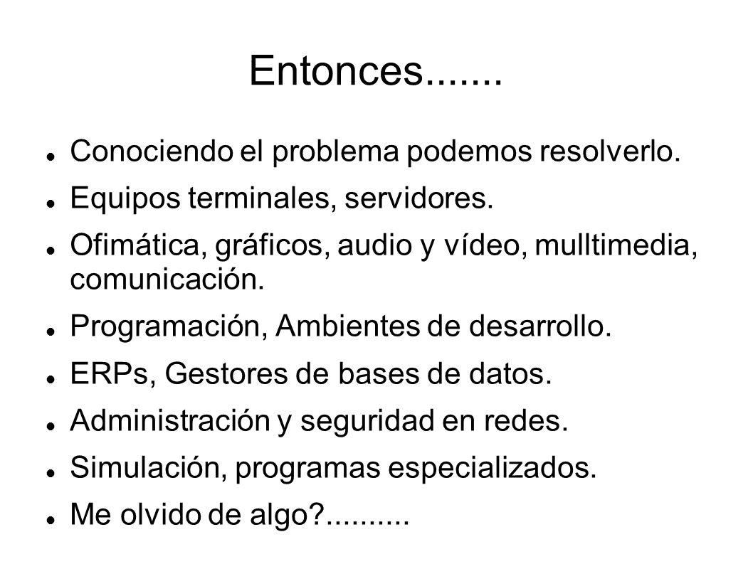 Entonces....... Conociendo el problema podemos resolverlo. Equipos terminales, servidores. Ofimática, gráficos, audio y vídeo, mulltimedia, comunicaci