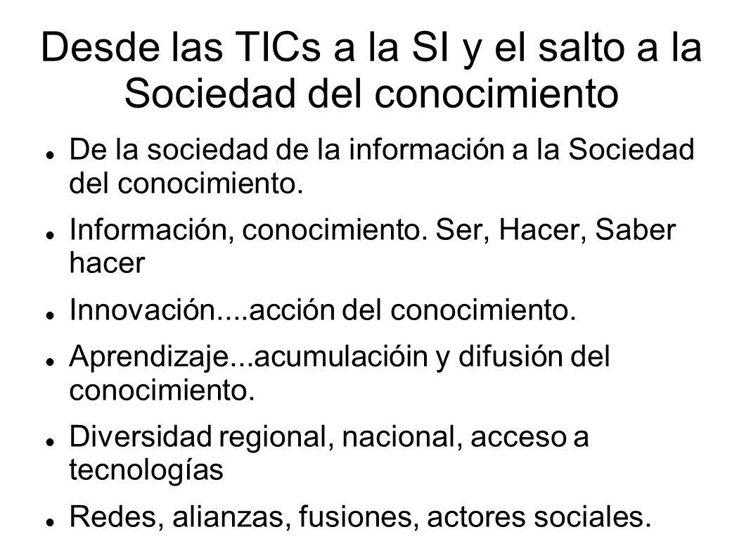 Desde las TICs a la SI y el salto a la Sociedad del conocimiento De la sociedad de la información a la Sociedad del conocimiento. Información, conocim