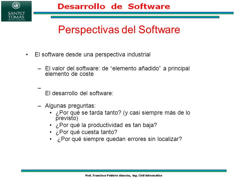 El software desde una perspectiva industrial –El valor del software: de elemento añadido a principal elemento de coste – El desarrollo del software: –
