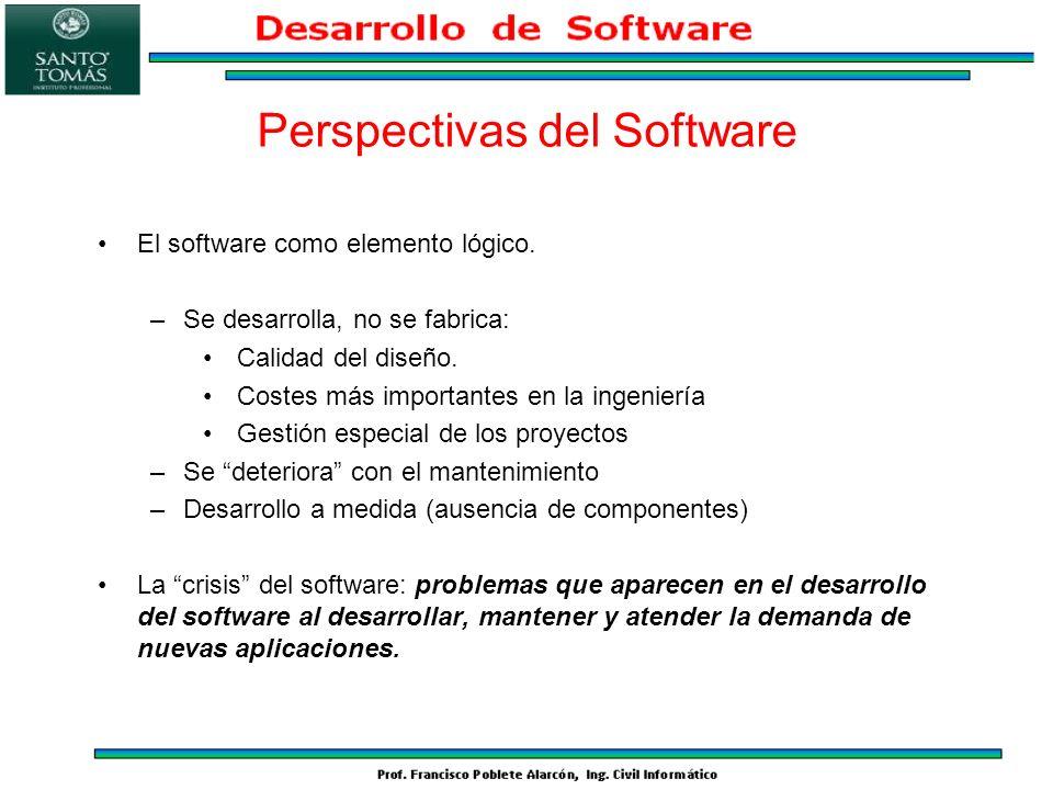 El software como elemento lógico. –Se desarrolla, no se fabrica: Calidad del diseño. Costes más importantes en la ingeniería Gestión especial de los p