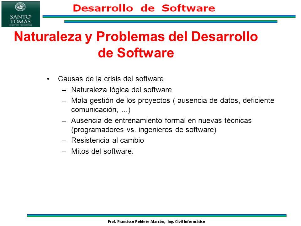 Naturaleza y Problemas del Desarrollo de Software Causas de la crisis del software –Naturaleza lógica del software –Mala gestión de los proyectos ( au