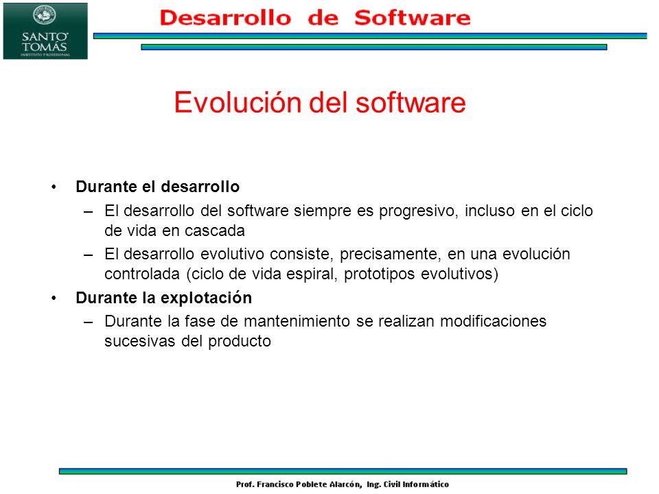 Evolución del software Durante el desarrollo –El desarrollo del software siempre es progresivo, incluso en el ciclo de vida en cascada –El desarrollo