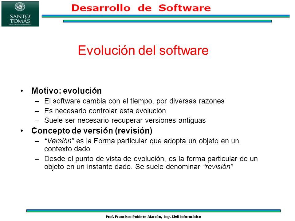 Concepto de configuración –Un sistema software comprende distintos componentes, que evolucionan individualmente –Hay que garantizar la consistencia del conjunto del sistema –Una configuración es una combinación de versiones particulares de los componentes que forman un sistema consistente –Desde el punto de vista de evolución, es el conjunto de las versiones de los objetos componentes en un instante dado Evolución del software