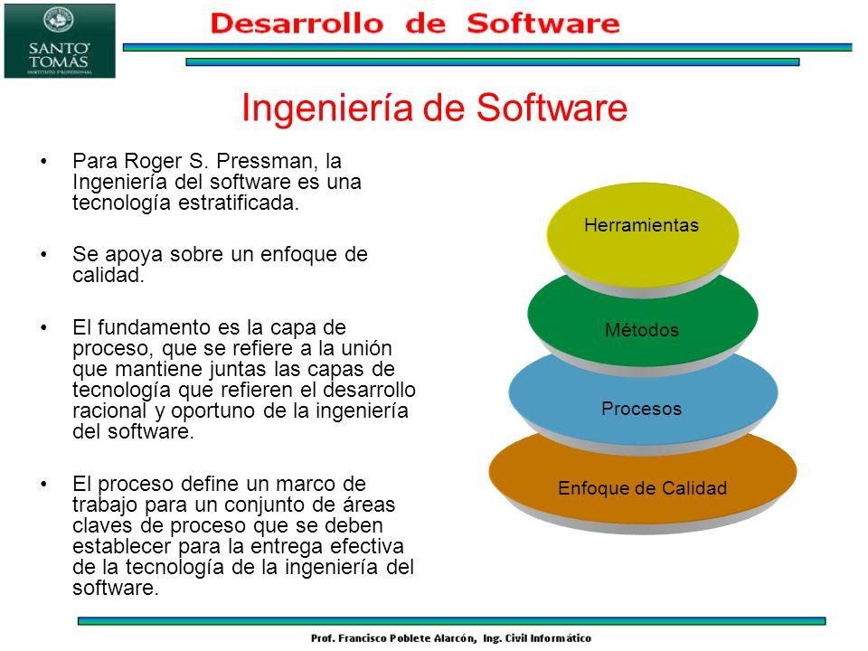 Ingeniería de Software Para Roger S. Pressman, la Ingeniería del software es una tecnología estratificada. Se apoya sobre un enfoque de calidad. El fu